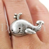Adjustable Cute Whale Animal Ring in Silver