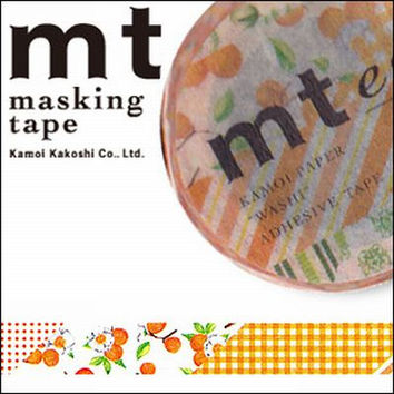 Flower Orange Tape - Japanese mt  ex Washi Paper Masking Tape, Scrapbooking, Floral Art Supply, Colorful Kawaii Deco Collage, Gift Wrapping