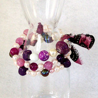 Beaded Stretch Bracelet in Red Purple and Pearl colors by Jan4insight