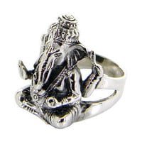 Lord Ganesh Idol Sterling silver ring/ Black Oxidized ring for perfect look