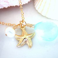 Light blue chalcedony gold starfish necklace