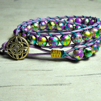 Purple Wrap Bracelet, Wrap Around, Double Wrap Bracelet, Leather Wrap Bracelet