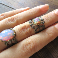 Pink Fire Opal Bronze Adjustable Ring Stacking Lace Filigree- Vintage German Glass Cabochon