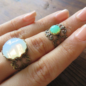 White Opal Midi Bronze Adjustable Ring Stacking Lace Filigree- Glass Cabochon Stone Knuckle Finger Jewelry Wrap