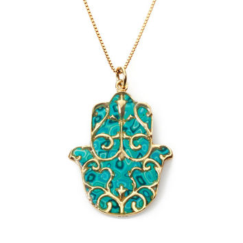 Hamsa Pendant with Fleur de Lis Overlay - Clay Necklace - Turquoise Jewelry - FREE SHIPPING