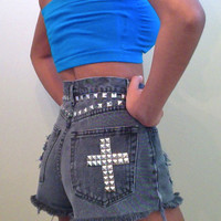 AllThingsGold | Grey Studded Shorts | Online Store Powered by Storenvy