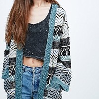 Staring at Stars Jacquard Cardigan in Black and Teal - Urban Outfitters