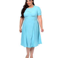 Plus Size 1940s Style Aqua Mae West Swing Dress