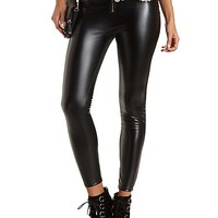 Zip-Up Faux Leather Skinny Pants by Charlotte Russe - Black