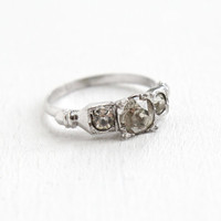 Vintage Sterling Silver Faux Diamond Ring - Size 9 Mid Century 1940s 1950s Round Cut Faceted Crystal Jewelry