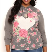 Plus Size Long Sleeve Floral Heart Print Hoodie with High Low Hemline