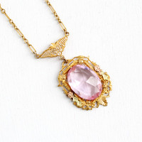 Antique Art Deco Pink Stone Flower Lavaliere Necklace- Vintage Rose, Green, & Gold Tone 1920s 1930s Filigree Floral Pendant Jewelry