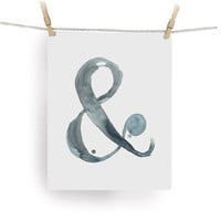 "Ampersand Print - Watercolor & - Print from my Original Illustration - 8""x10"""