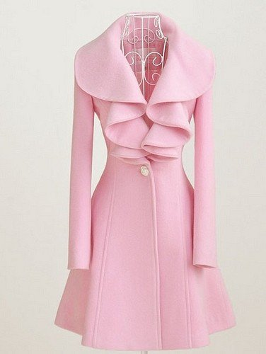 Large pink lotus leaf collar wool long coat---Pink by milifashion on Sense of Fashion
