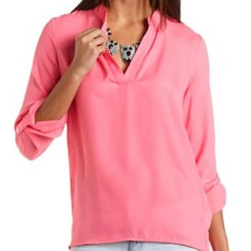 Mandarin V-Neck Tunic Top by Charlotte Russe - Neon Pink