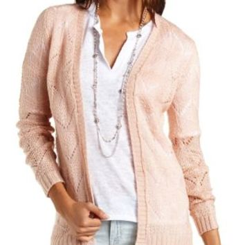 Fuzzy Pointelle Cardigan Sweater by Charlotte Russe - Nude Pink