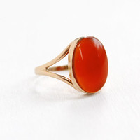 Antique Art Deco 10k Rose Gold Carnealian Ring - 1920s Size 7 Red Cabochon Gemstone Fine Jewelry