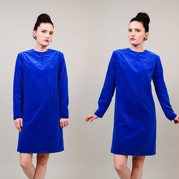 60s Electric Blue Velvet Mod Twiggy Long Sleeve Button Front 1960s Sheath Scooter Mini Dress XS S