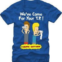 Beavis & Butthead Papers We've Come For Your T.P. Adult Royal Blue T-shirt