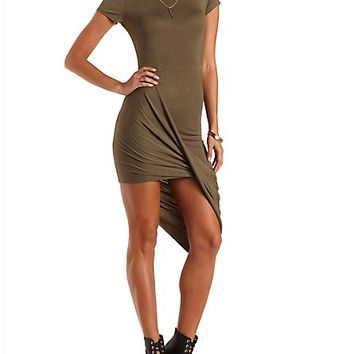 Asymmetrical High-Low Dress by Charlotte Russe - Olive