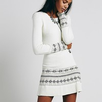 Knitz by For Love & Lemons Womens Alpine Dropwaist Dress - Ivory