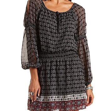 Cold Shoulder Peasant Dress by Charlotte Russe - Black Combo
