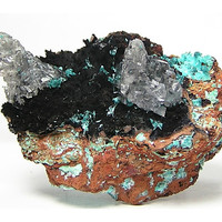 Black Goethite Carpet with rising Spires of Clear Calcite and mossy patches of Blue Aurichalcite crystals Natural Mineral Specimen