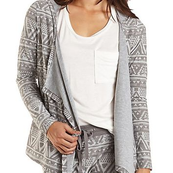 Tribal Print Cascade Hoodie by Charlotte Russe - Gray Combo