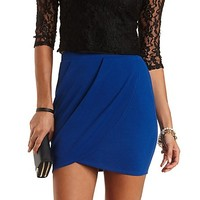 Pleated Tulip Mini Skirt by Charlotte Russe - Bright Cobalt