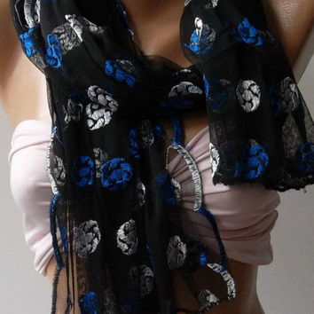 Blue - Black / Elegance  Shawl / Scarf with Lacy Edge