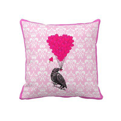 Crow and heart on pink damask pillows from Zazzle.com
