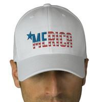 US Flag MERICA Baseball Cap from Zazzle.com
