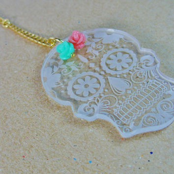 Sugar skull dia de los muertos calavera day of the dead candy skull acrylic necklace rose pink and aqua blue resin flowers gold plated chain