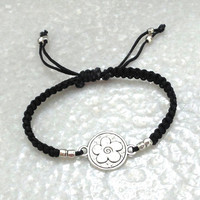 Macrame Bracelet with silver plated Flower charm, black, adjustable