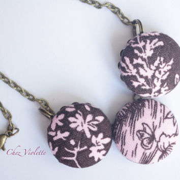 Brown pink Necklace, fabric Necklace, Fiber Necklace, Button Cabochon Necklace, necklace for woman