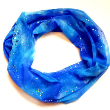 Ombre Blue Mesh with Silver Sequins Young Girls Tube Scarf Fall or Halloween Toddler Scarf Ombre Scarves for Babies Childrens Scarves