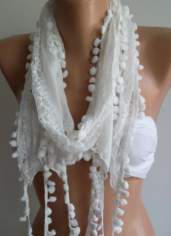 White / Lace and Elegance Shawl / Scarf,