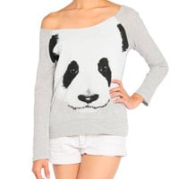 Panda Face Ribbed Back Sweater
