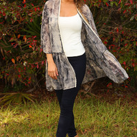 Never Miss A Beat Cardigan: Gray/Cream