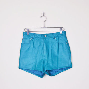Vintage 80s 90s Turquoise Blue Leather Short High Waist Short Hot Pant 80s Leather Motorcycle Short Moto Short Leather Biker Short M Medium