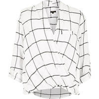 White check twist wrap blouse