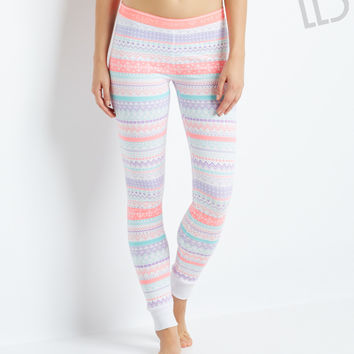 Aeropostale LLD Fair Isle Sleep Leggings - Bleach, XX-Small