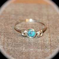 Turquoise Wire Wrapped Ring - Turquoise Ring -  Ring -  knuckle Stacking Ring - Turquoise Wire Ring - Crystal Rings
