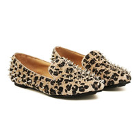 Leopard Spiked Loafers