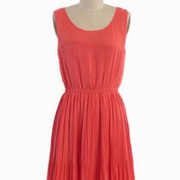 parkway pleated dress in coral at ShopRuche.com