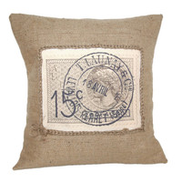 French Stamp Vintage Rustic Design Hessian Jute Burlap Canvas Pillow Cushion Cover 16&quot;