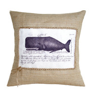 Vintage Whale Drawing Nautical Hessian Jute Burlap Canvas Pillow Cushion Cover 16""