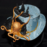 Cunene Victorian Steampunk Octopus  Mini Top Hat by cunene on Etsy