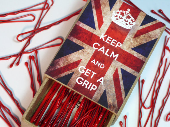 Keep Calm And Get A Grip Bobby Pins Jubilee Box with Hair Pins