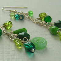 Earrings Green Dangle Sterling Silver FREE SHIPPING